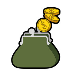 Purse with money icon vector