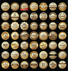 quality golden retro badges collection vector image