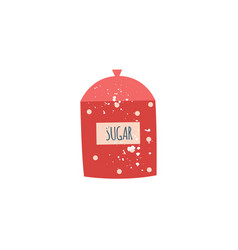 red polka dot ceramic sugar bowl with cover in vector image