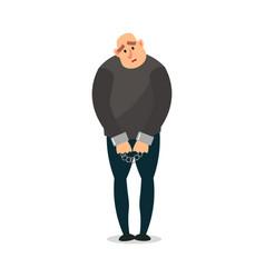 Sad bald burglar in black clothes with metal vector