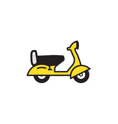 scooter black outline with yellow color drawing vector image