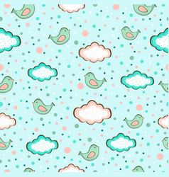 Seamless background of cute birds on sky in vector