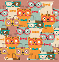 Seamless pattern with colorful cats in glasses vector