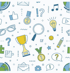 Seamless pattern with quiz tournament vector