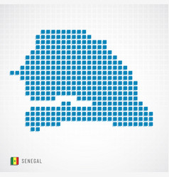 senegal map and flag icon vector image