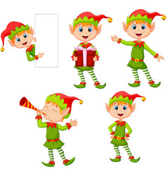 set cartoon elves boy isolated white background vector image