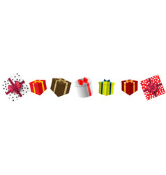 Set colorful gift boxes with bows and ribbons vector