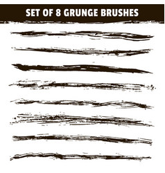 set eight hand drawn brush strokes vector image