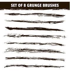 set eight hand drawn brush strokes vector image