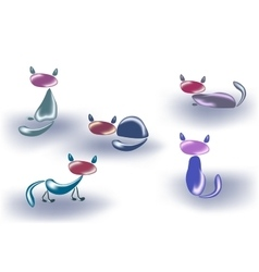 Set of cats made of glass or stone EPS10 vector image