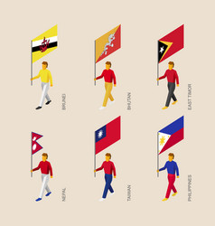 Set of isometric 3d people with flags of asia vector