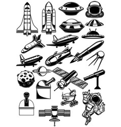 set space design elements space shuttle ufo vector image