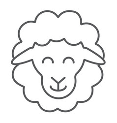 Sheep thin line icon animal and rural lamb sign vector