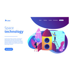 space technology concept landing page vector image