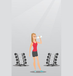 Sportswoman drinking water vector