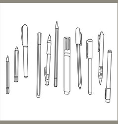 Stationery art materials set of pens and pencils vector