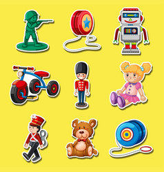 Sticker set with toys on yellow background vector