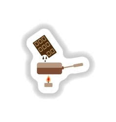stylish paper sticker chocolate fondue on candle vector image