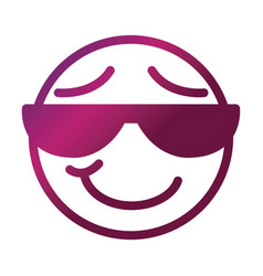 sunglasses funny smiley emoticon face expression vector image