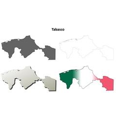 Tabasco blank outline map set vector
