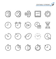 Time and clock line icons editable stroke vector
