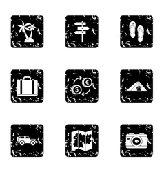 Travel to sea icons set grunge style vector image