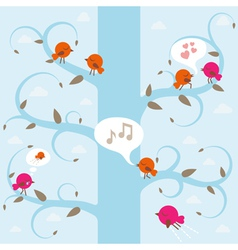 tree with birds vector image