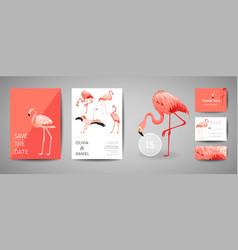Tropical retro wedding invitation card flamingo vector