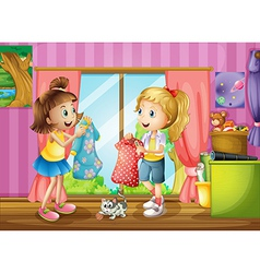 Two girls talking about their dresses vector image