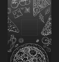 Vintage vertical pizza banner on black background vector