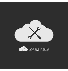 White cloud with settings sign on dark grey vector