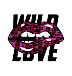 Wild love slogan typography with leopard lips vector