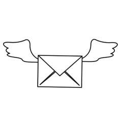 Winged email envelope mail express outline vector