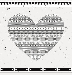 with ethnic heart card template for valentines vector image