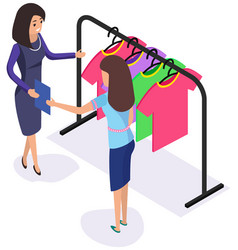 woman communicating with consultant in shop while vector image