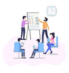 Work meeting improve business process flat banner vector