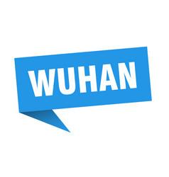 wuhan speech bubble wuhan ribbon sign wuhan banner vector image