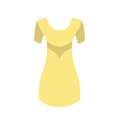 yellow dress with round collar short sleeve vector image