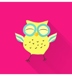 Yellow flat owl over pink vector image