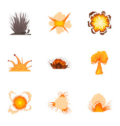 bomb explosion icons set cartoon style vector image
