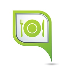 restaurant icon on green map pointer vector image