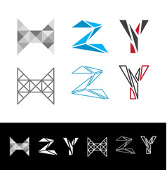 abstract letter h z y logotype vector image vector image