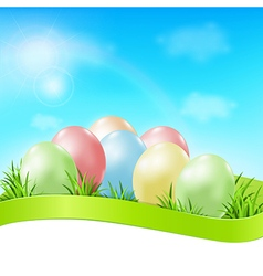 Easter card with eggs vector image