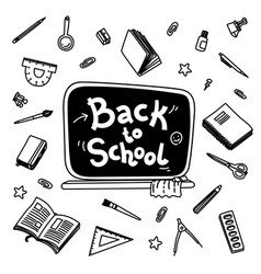 stationery collection outline style back to vector image vector image