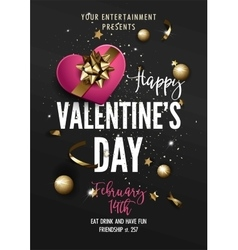 Valentines Day Party greeting card or Flyer vector image