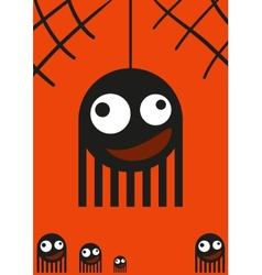 Cute monsters spiders on web halloween card vector image