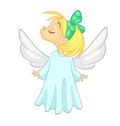 happy angel character smiling cartoon vector image