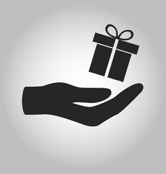 icon hand holding gift isolated vector image