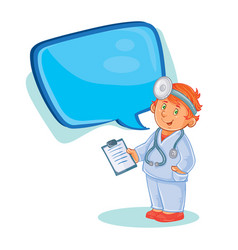icon of small child doctor in a medical vector image vector image