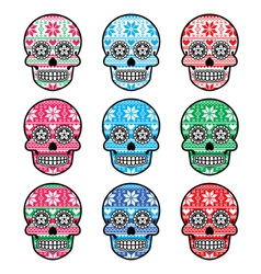 Mexican sugar skull with winter Nordic pattern vector image vector image